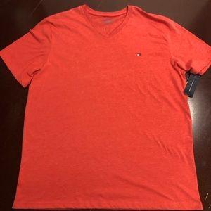 Tommy Hilfiger red V-neck T-shirt extra large
